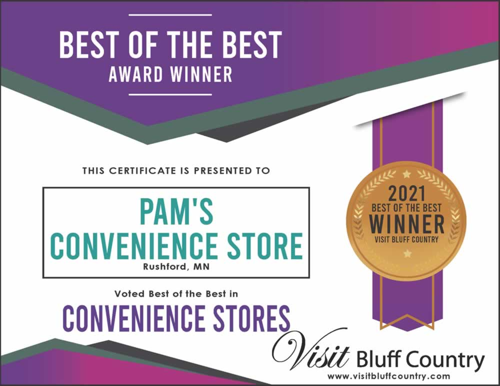 The best convenience store in Bluff Country Pam's Corner in Rushford MN