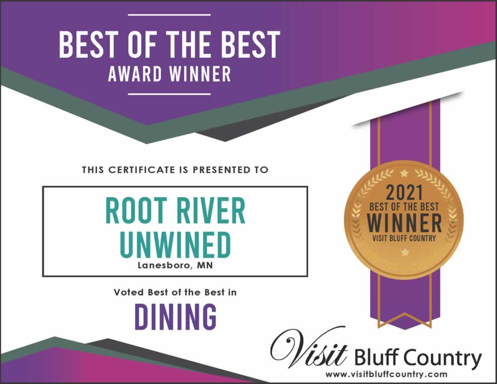 The Best Dining in Bluff Country at Root River Unwined in Lanesboro MN