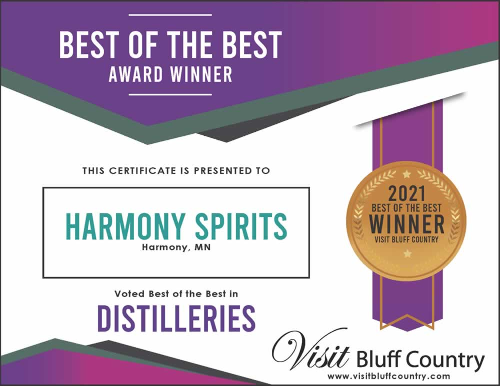The Best Distillery in Bluff Country at Harmony Spirits in Harmony MN