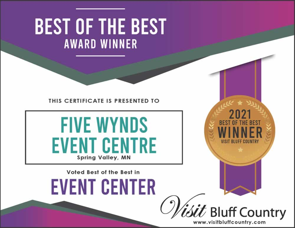 The Best Event Center in Bluff Country at Five Wynds Event Centre in Spring Valley MN