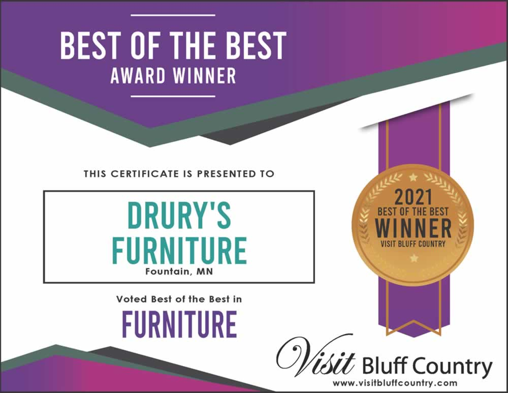 The best furniture store in Bluff Country at Drury's Furniture in Fountain MN