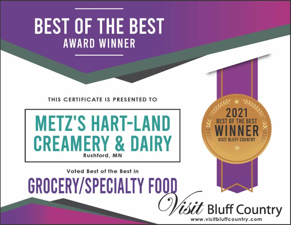 The Best Grocery or Specialty Food Store in Bluff Country at Metz's Hart-Land Creamery and Dairy in Rushford MN