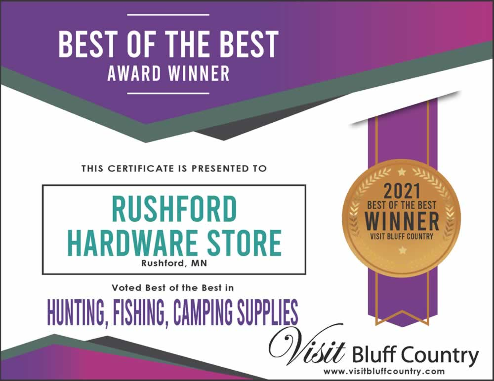 The best store for hunting fishing camping supplies in Bluff Country at Rushford Hardware in MN