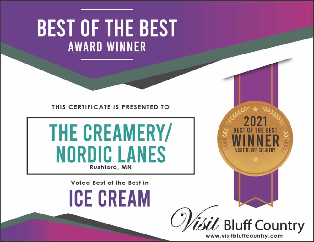 The Best Ice Cream Shop in Bluff Country at The Creamery at Nordic Lanes in Rushford MN