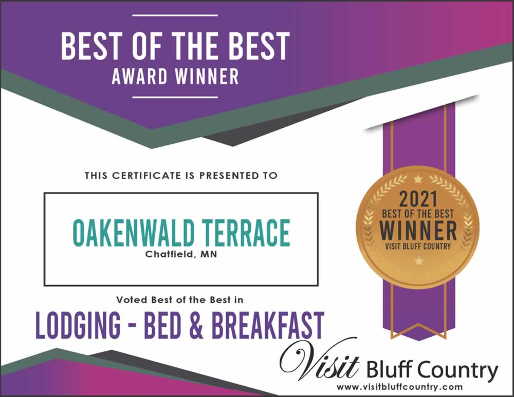 The best lodging Bed and Breakfast in Bluff Country at Oakenwald Terrace in Chatfield MN