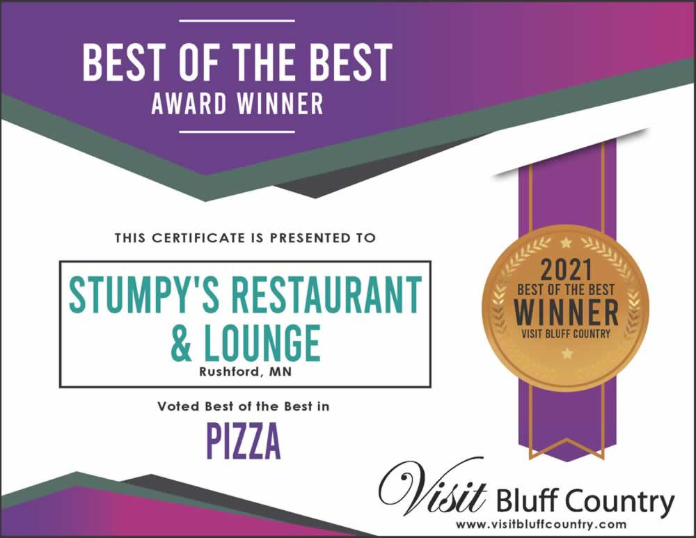 The Best Pizza in Bluff Country at Stumpy's Restaurant and Lounge in Rushford MN