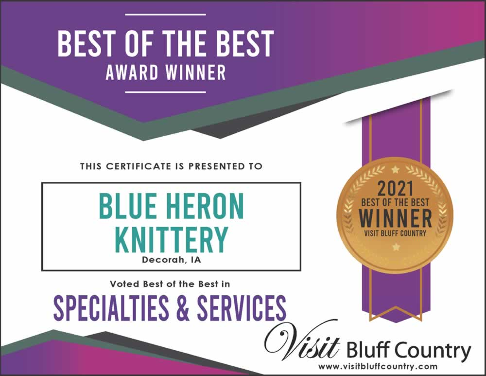 The best specialty store in Bluff Country is Blue Heron Knittery in Decorah, IA