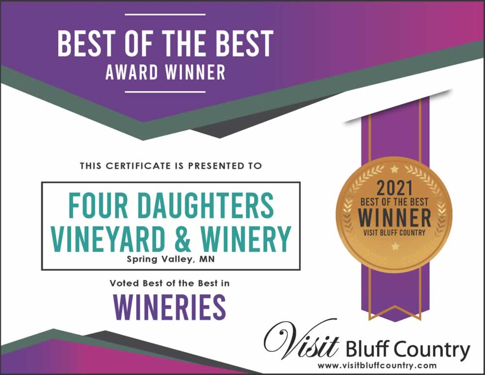 The Best Winery in Bluff Country is at Four Daughters Winery in Spring Valley MN